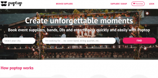 Poptop event supplier home page