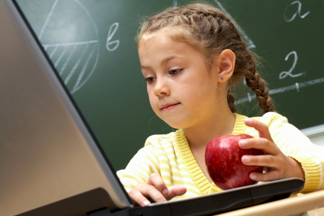 Portrait of schoolgirl attentively looking at her laptop.