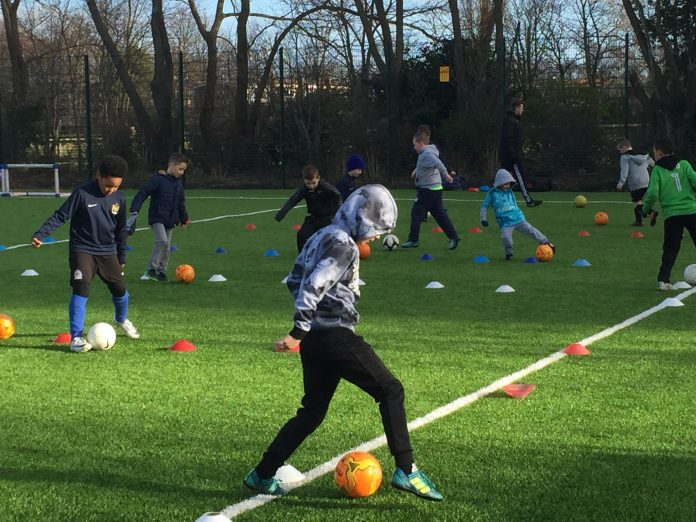 Youngsters from Newcastle East End FC show off their skills