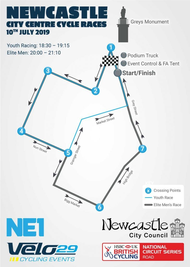 Newcastle Cycling Route 10th July 2019